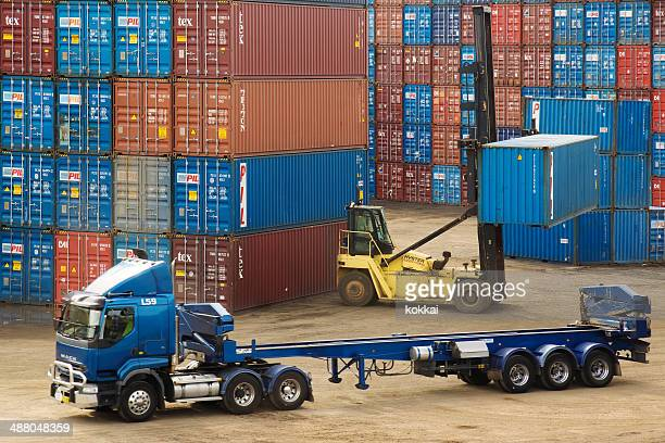 Forklift lifting container off truck at Port Botany