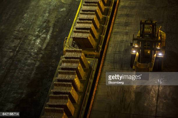 A forklift moves copper plates at the Southern Copper Corp smelter facility in Ilo Peru on Monday Jan 30 2017 Peru posted its biggest trade surplus...