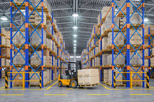 Forklift truck in warehouse or storage and shelves with cardboard boxes. 1093351610