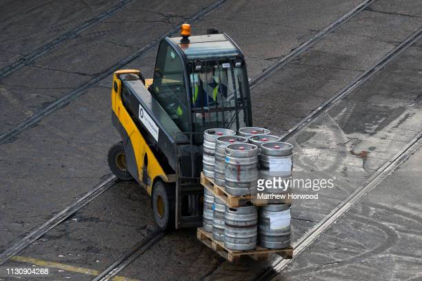 A forklift truck loads barrels of beer onto a ship at the Port of Southampton on February 10 2019 in Southampton England The Port of Southampton is a...