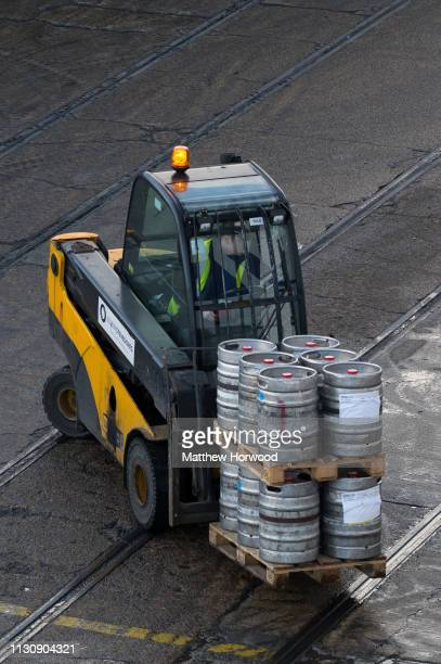 A forklift truck moves barrels of beer at the Port of Southampton on February 10 2019 in Southampton England The Port of Southampton is a passenger...