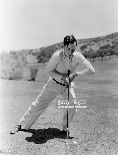 Form in Putting demonstrated by Buster Keaton MetroGoldwynMayer star Undated photograph