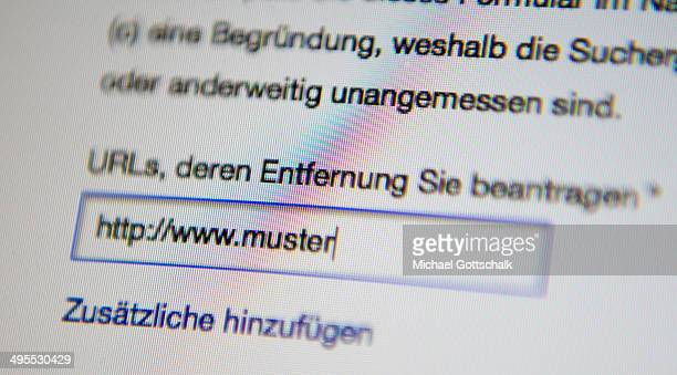 Form to apply for the deletion of links of google search engine is seen on a screen on June 02 2014 in Berlin Germany