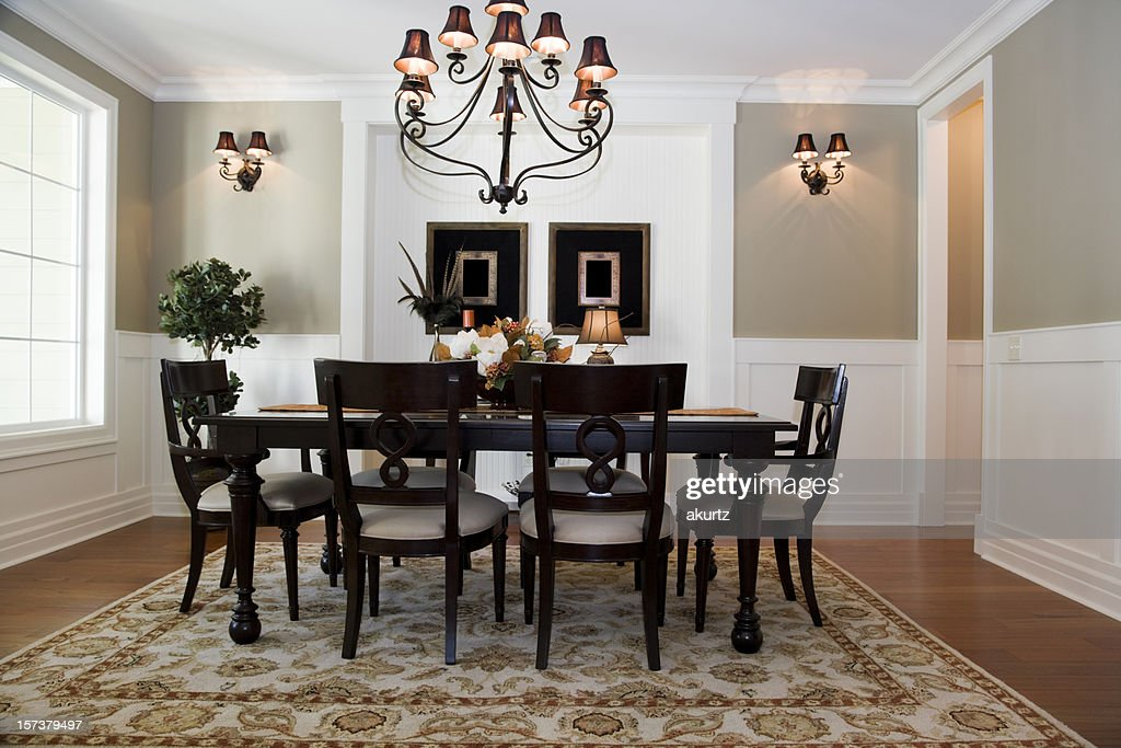 Formal Dining Room Interior Architecture Design Wood Floors Table : Stock  Photo