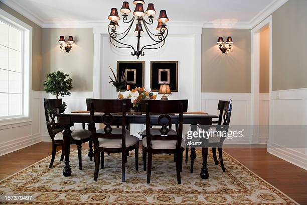 Formal Dining room Interior architecture design wood floors table