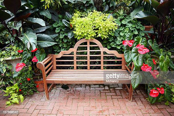 formal garden bench - nancy green stock pictures, royalty-free photos & images