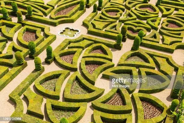 formal gardens, chateau of villandry, indre et loire, loire valley, france - government building stock pictures, royalty-free photos & images