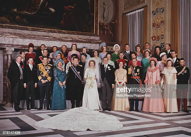 Formal group portrait of the wedding party of Princess Beatrix of the Netherlands and her husband Prince Claus of the Netherlands formerly Claus von...
