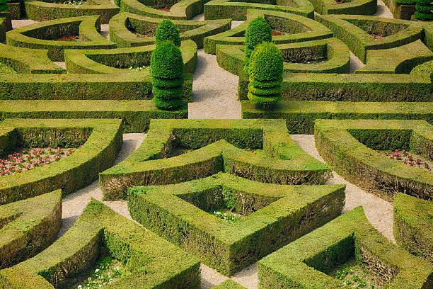 Formal hedged garden of Villandry Castle.