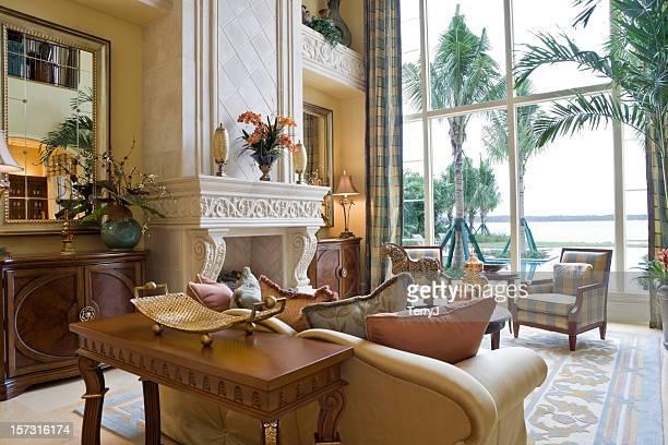 Formal living room overlooking water