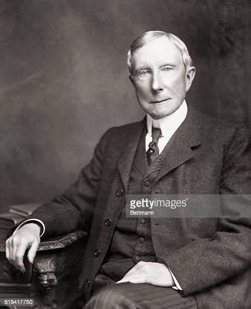 Formal photo portrait of American industrialist John Davison Rockefeller Sr Undated photograph