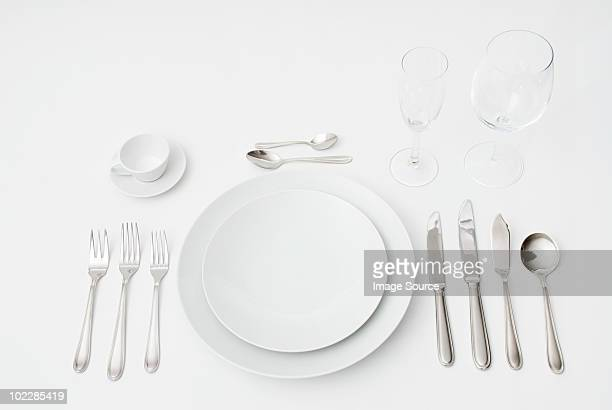 formal place setting - silverware stock pictures, royalty-free photos & images
