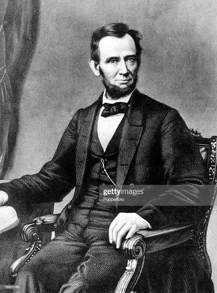 Formal portrait of Abraham Lincoln 1809 - 1865, 16th President of the United States of America, famous for saving the Union in the American Civil and the emancipation of slaves, He was assassinated by John Wilkes Booth in 1865