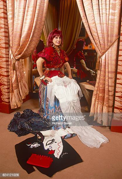 A formal portrait of English fashion designer Zandra Rhodes in the summer of 1989 at her Grafton Street boutique central London England Dame Zandra...