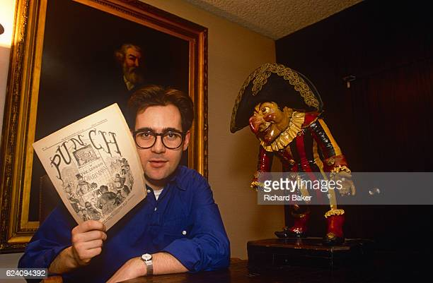 A formal portrait of English journalist David Thomas after his appointment as the new editor of Punch Magazine in February 1989 London England Thomas...