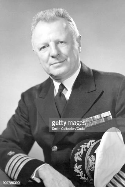 Formal portrait of H Trendley Dean DDS in uniform the first dentist who studied and published the benefits of fluoride in tooth decay prevention...