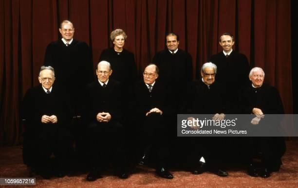 Formal portrait of the members of the United States Supreme Court Washington DC September 11 1990 Pictured are front row from left Associate Justice...