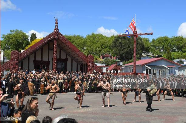 A formal powhiri is performed during the arrival of Prince Harry Duke of Sussex and Meghan Duchess of Sussex on October 31 2018 in Rotorua New...