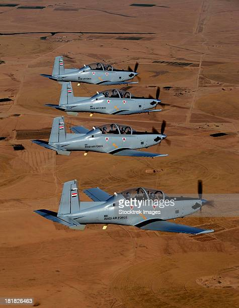 A formation of Iraqi Air Force T-6 Texan trainer aircraft over Tikrit, Iraq.