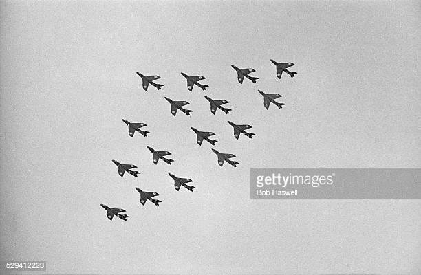 A formation of RAF Hawker Hunter jet airplanes at the Farnborough Air Show 1st September 1958