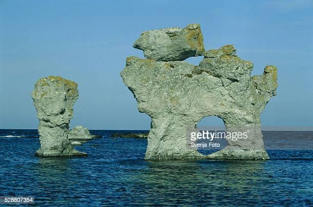 Formation of rocks standing in the sea, Gotland L?n, Schweden