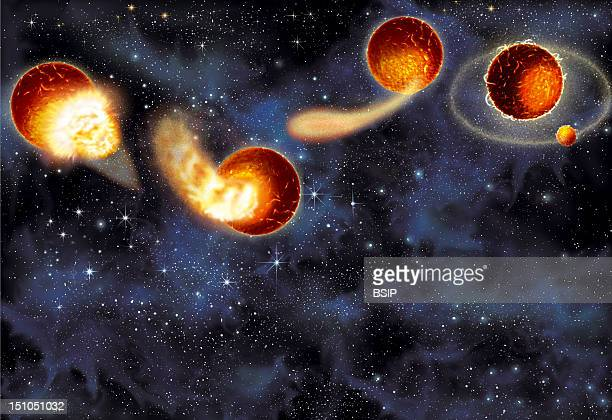 Formation Of The Moon Phases 4 To 7 Illustration Of A Theory Of The Creation Of The Moon 4Th Phase The Debris Gathered Together Fall To Earth Causing...