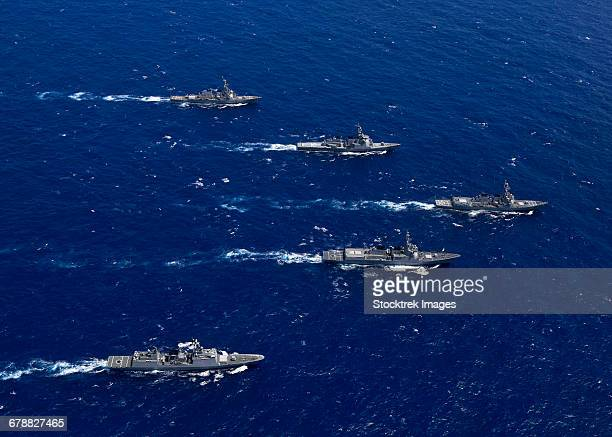 formation of warships from the u.s. navy, rok navy and japan maritime self defense force. - japan maritime self defense force stock pictures, royalty-free photos & images