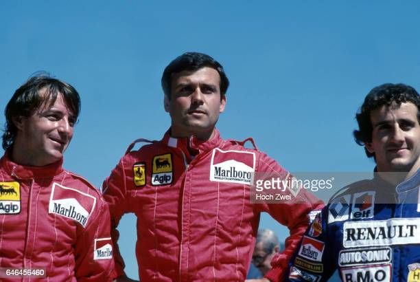 Formel 1 Grand Prix Brasilien 1983 Jacarepagua Rio de Janeiro Fotoshooting franzoesische F1Fahrer Rene Arnoux Patrick Tambay Alain Prost...