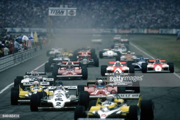 Formel 1, Grand Prix Deutschland 1981, Hockenheimring, Start Alain Prost, Renault RE30 Carlos Reutemann, Williams-Ford FW07C Rene Arnoux, Renault...