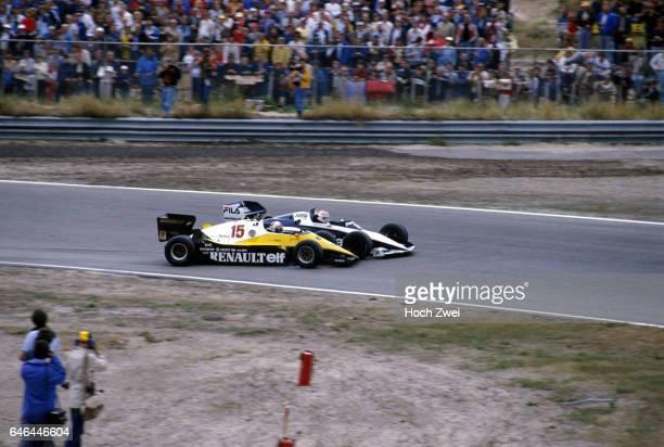 Formel 1, Grand Prix Niederlande 1983, Zandvoort, Kollision Alain Prost - Nelson Piquet Nelson Piquet, Brabham-BMW BT52B Alain Prost, Renault RE40...