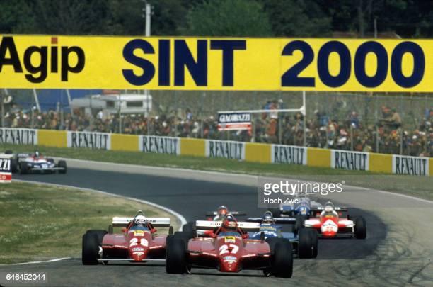 Formel 1, Grand Prix San Marino 1982, Imola, Gilles Villeneuve, Ferrari 126C2 Didier Pironi, Ferrari 126C2 Michele Alboreto, Tyrrell-Ford 011...