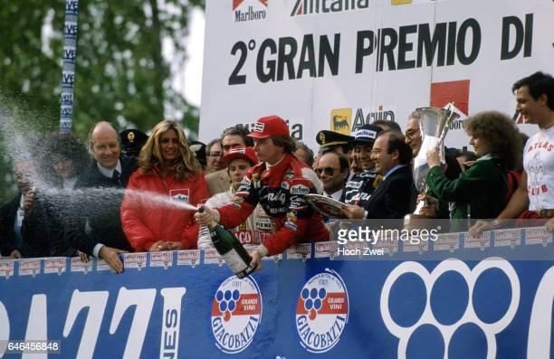 Formel 1, Grand Prix San Marino 1982, Imola, Siegerehrung Gilles Villeneuve Sieger Didier Pironi Michele Alboreto www.hoch-zwei.net , copyright: HOCH...