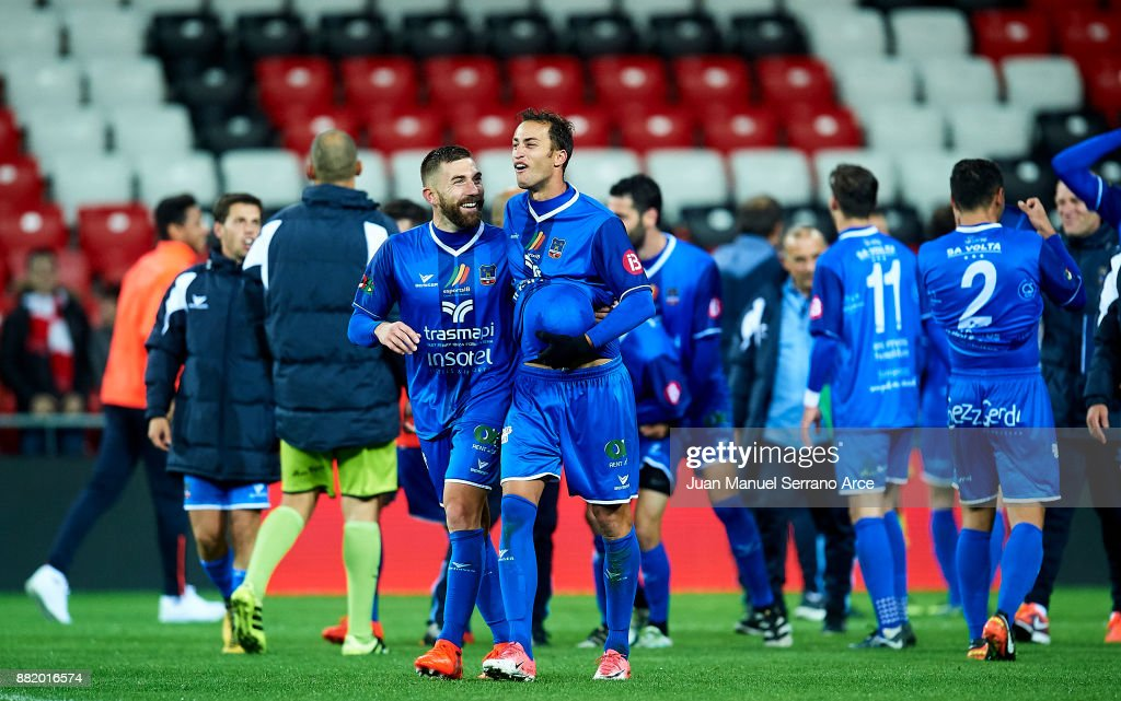 SD Formentera players celebrate after eliminating Athletic Club at the end of the Copa del Rey, Round of 32, Second Leg match between Athletic Club and SD Formentera at San Mames Stadium on November 29, 2017 in Bilbao, Spain.