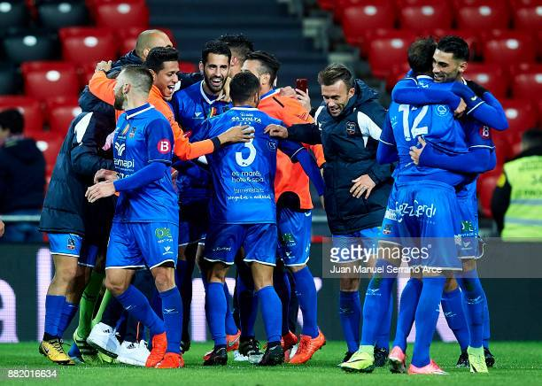 Formentera players celebrate after eliminating Athletic Club at the end of the Copa del Rey Round of 32 Second Leg match between Athletic Club and SD...
