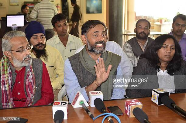 Former AAP leader and Swaraj Abhiyan campaigner Yogendra Yadav addressing a press conference about drought in Bundelkhand region after visiting the...