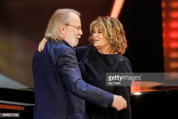 Former ABBA member Benny Andersson and Norwegian singer Wencke Myhre during the tv show 'Willkommen bei Carmen Nebel' at TUI Arena on September 30...