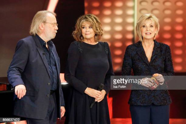 Former ABBA member Benny Andersson Norwegian singer Wencke Myhre and German presenter Carmen Nebel during the tv show 'Willkommen bei Carmen Nebel'...