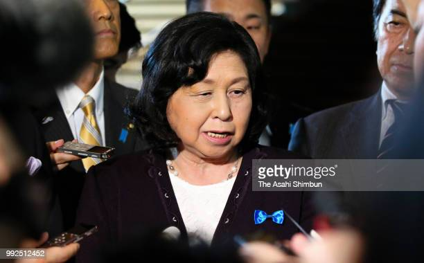 Former abductee by North Korea Hitomi Soga speaks to media reporters after her meeting with Prime Minister Shinzo Abe at the prime minister's...
