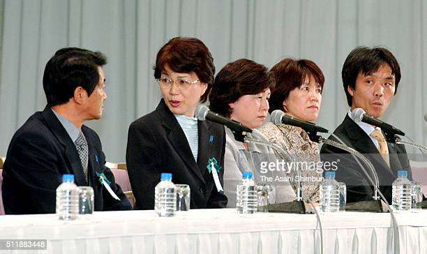 Former abductees Yasushi Chimura and his wife Fukie Chimura Hitomi Soga Yukiko Hasuike and her husband Kaoru Hasuike attend a press conference on May...