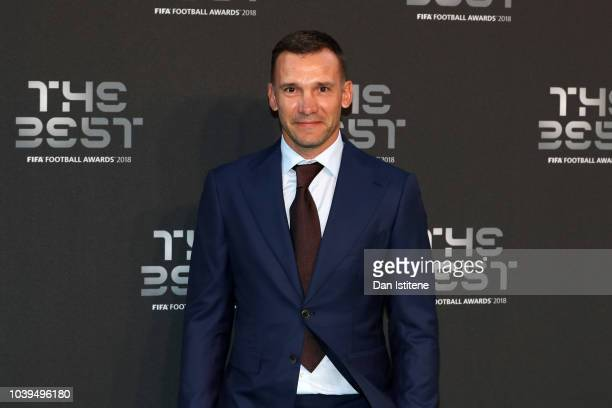 Former AC Milan and Ukraine player Andriy Shevchenko arrives on the Green Carpet ahead of The Best FIFA Football Awards at Royal Festival Hall on...