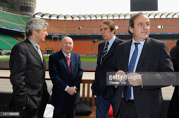 Former AC Milan players Gianni Rivera Giancarlo Danova and Cesare Maldini stand with UEFA president Michel Platini during the UEFA President's Award...