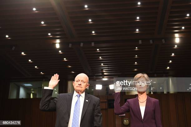 Former acting Attorney General Sally Yates and former Director of National Intelligence James Clapper are sworn in prior to testifying on May 8...