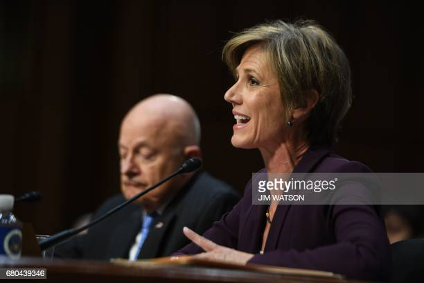 Former acting Attorney General Sally Yates and former Director of National Intelligence James Clapper testify on May 8 before the US Senate Judiciary...