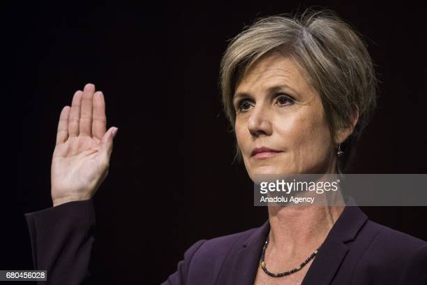 Former Acting Attorney General Sally Yates gets sworn in before testifying in front of the Senate Judiciary Committee who are holding a hearing on...