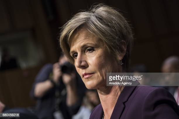 Former Acting Attorney General Sally Yates take her seat before testifying in front of the Senate Judiciary Committee who are holding a hearing on...