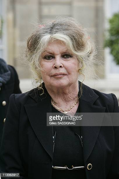 Former Actress And Now Animals Rights Activist Brigitte Bardot Invited For A Meeting On The Environment With French President Nicolas Sarkozy At The...