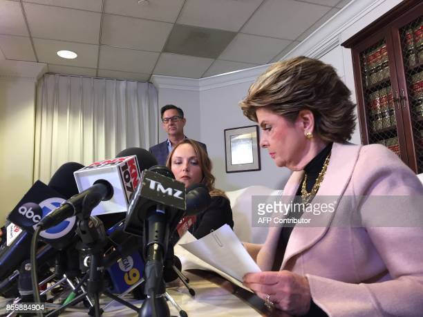 Former actress and screenwriter Louisette Geiss and her lawyer Gloria Allred prepare for a press conference on October 10 in los Angeles. Geiss...