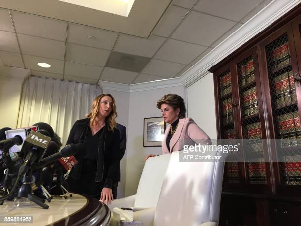 Former actress and screenwriter Louisette Geiss and her lawyer Gloria Allred arrive for a press conference on October 10 in los Angeles. Geiss claims...