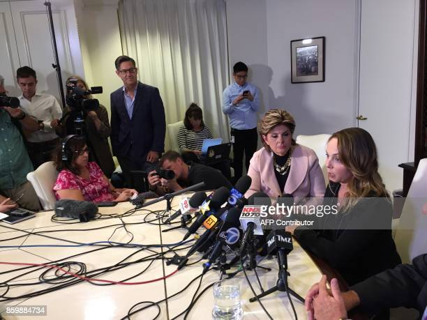 Former actress and screenwriter Louisette Geiss speaks at a press conference with lawyer Gloria Allred on October 10 in los Angeles. Geiss claims...