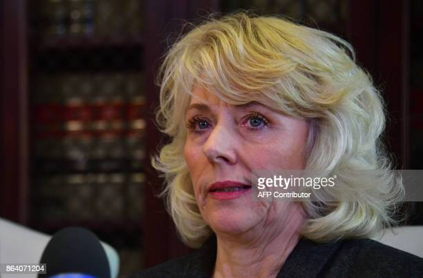 Former actress Heather Kerr speaks at a press conference with attorney Gloria Allred in Los Angeles California on October 20 as she alleges she was...